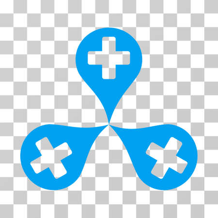Hospital Map Markers icon. Vector illustration style is flat iconic symbol, blue color, transparent background. Designed for web and software interfaces.