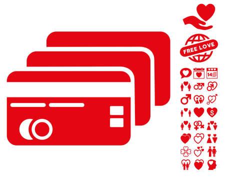 Banking Cards icon with bonus passion design elements. Vector illustration style is flat iconic symbols on white background.