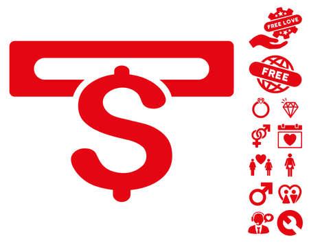 automatic transaction machine: Banca Icono de la máquina con el icono de la pasión icono conjunto. El estilo de la ilustración del vector es símbolos icónicos planos en el fondo blanco.
