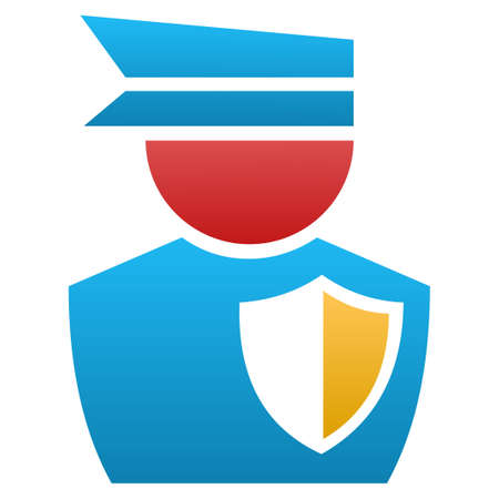 Police Officer vector icon. Flat symbol with gradient. Pictogram is isolated on a white background. Designed for web and software interfaces.