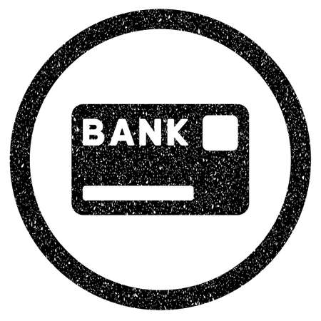 Rounded Bank Card rubber seal stamp watermark. Icon symbol inside circle with grunge design and scratched texture. Unclean vector black sign. Illustration