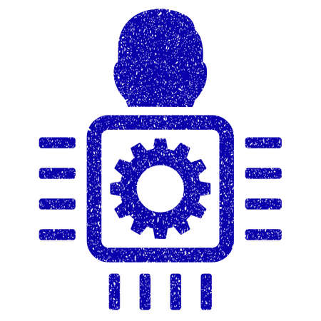 Grunge Cyborg Processor rubber seal stamp watermark. Icon symbol with grunge design and scratched texture. Unclean raster blue emblem.