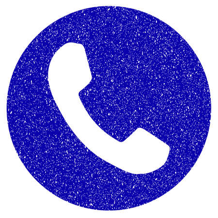 Grunge Phone Number rubber seal stamp watermark. Icon symbol with grunge design and dirty texture. Unclean raster blue emblem.