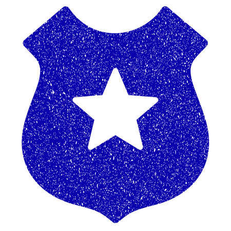 Grunge Police Shield rubber seal stamp watermark. Icon symbol with grunge design and dirty texture. Unclean raster blue sticker.