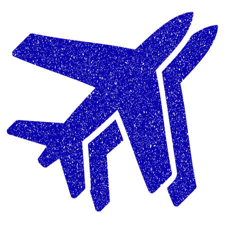グランジ航空ゴム シール スタンプ透かし。グランジ デザインと汚れた質感とアイコンのシンボル。汚れたベクトル青ステッカー。