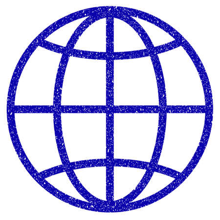 Grunge Globe rubber seal stamp watermark. Icon symbol with grunge design and scratched texture. Unclean vector blue emblem.
