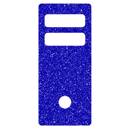 storage device: Grunge Server Mainframe rubber seal stamp watermark. Icon symbol with grunge design and unclean texture. Unclean vector blue emblem.