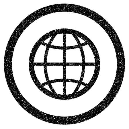 Rounded Globe rubber seal stamp watermark. Stock Photo