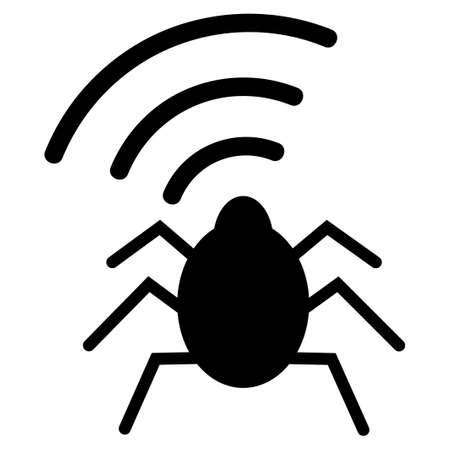 Radio Bug raster icon. Flat black symbol. Pictogram is isolated on a white background. Designed for web and software interfaces.