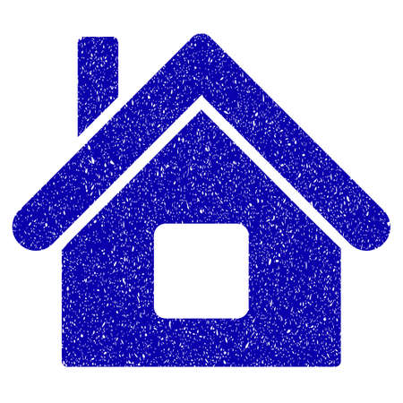 Grunge Home rubber seal stamp watermark. Icon symbol with grunge design and dirty texture. Unclean raster blue emblem.