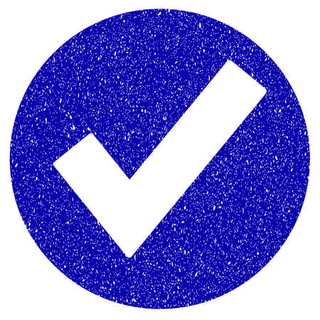 Grunge Ok rubber seal stamp watermark. Icon symbol with grunge design and dirty texture. Unclean vector blue emblem.