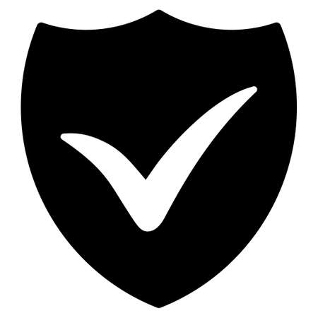 Shield Valid raster icon. Flat black symbol. Pictogram is isolated on a white background. Designed for web and software interfaces. Stock Photo