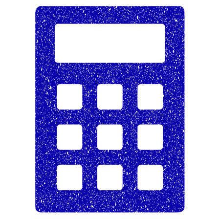 adder: Grunge Calculator rubber seal stamp watermark. Icon symbol with grunge design and unclean texture. Unclean raster blue sticker.