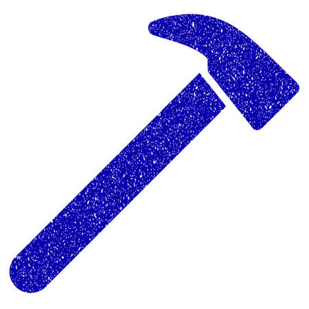 Grunge Hammer rubber seal stamp watermark. Icon symbol with grunge design and scratched texture. Unclean raster blue sign. Stock Photo