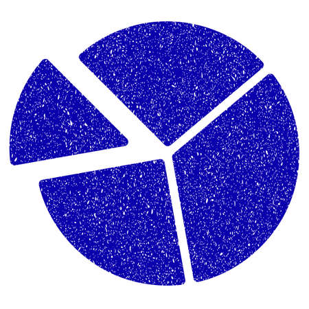 Grunge Pie Chart rubber seal stamp watermark. Icon symbol with grunge design and unclean texture. Unclean raster blue sign.