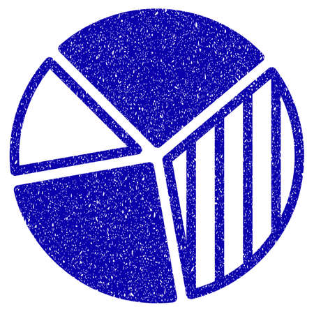 Grunge Pie Chart rubber seal stamp watermark. Icon symbol with grunge design and dust texture. Unclean vector blue sign.