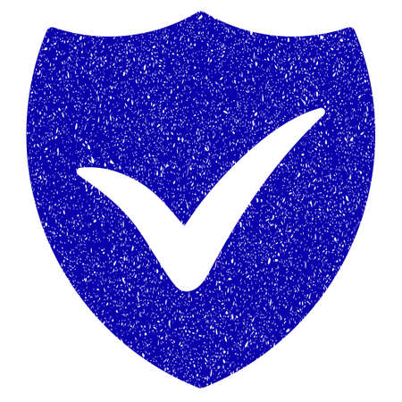 Grunge Shield Valid rubber seal stamp watermark. Icon symbol with grunge design and dirty texture. Unclean vector blue sticker.