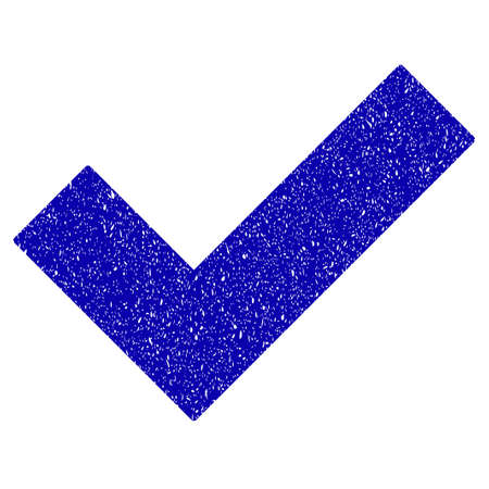 Grunge Yes Tick rubber seal stamp watermark. Icon symbol with grunge design and unclean texture. Unclean raster blue emblem. Stock Photo