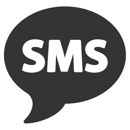 short message service: SMS vector icon. Flat gray symbol. Pictogram is isolated on a white background. Designed for web and software interfaces.