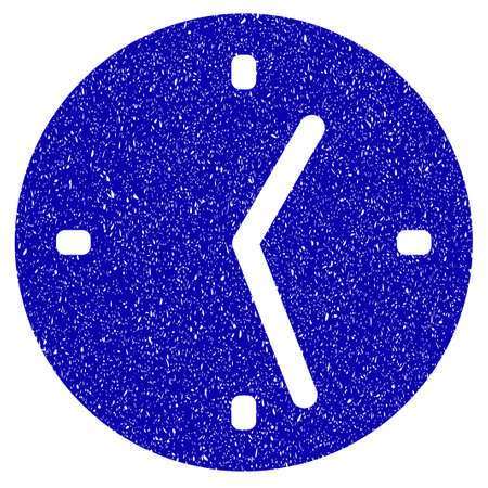 Grunge Clock rubber seal stamp watermark. Icon symbol with grunge design and unclean texture. Unclean raster blue sticker.