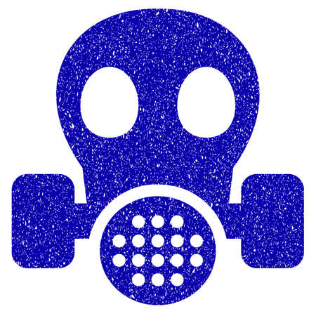dangerous work: Grunge Gas Mask rubber seal stamp watermark. Icon symbol with grunge design and scratched texture. Unclean raster blue sticker. Stock Photo