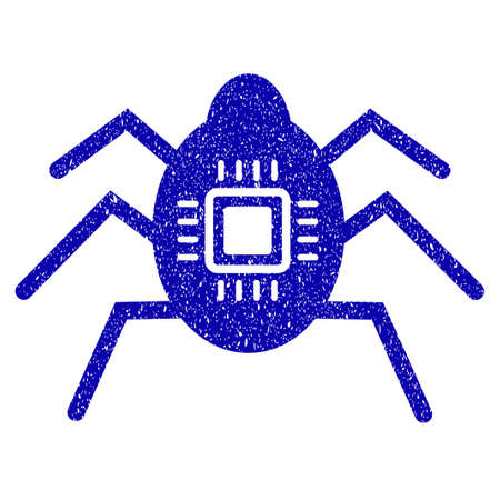 old pc: Grunge Hardware Bug rubber seal stamp watermark. Icon symbol with grunge design and unclean texture. Unclean raster blue emblem. Stock Photo
