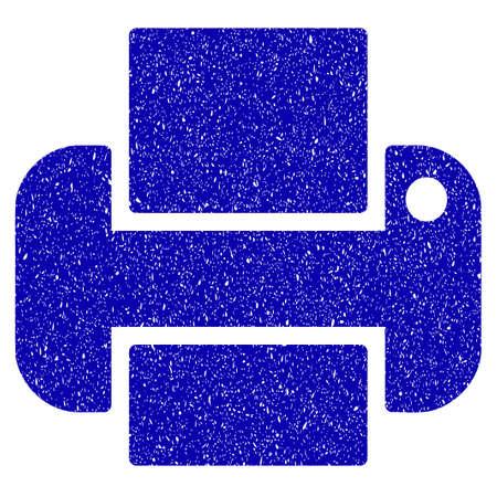 Grunge Printer rubber seal stamp watermark. Icon symbol with grunge design and unclean texture. Unclean raster blue sticker.