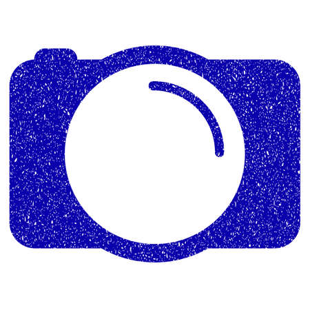 Grunge Photo Camera rubber seal stamp watermark. Icon symbol with grunge design and unclean texture. Unclean raster blue sticker.