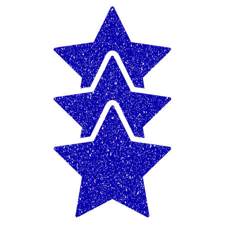 Grunge Rating Stars rubber seal stamp watermark. Icon symbol with grunge design and scratched texture. Unclean vector blue sticker.