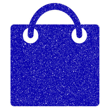 billfold: Grunge Shopping Bag rubber seal stamp watermark. Icon symbol with grunge design and scratched texture. Unclean vector blue sign. Illustration