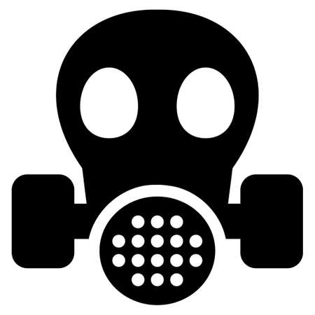 caution chemistry: Gas Mask vector icon. Flat black symbol. Pictogram is isolated on a white background. Designed for web and software interfaces.