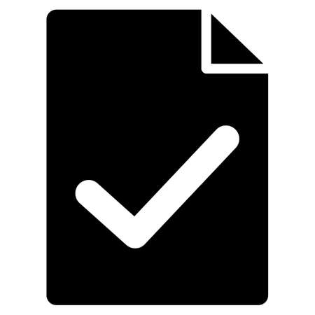 indenture: Valid Agreement Page vector icon. Flat black symbol. Pictogram is isolated on a white background. Designed for web and software interfaces.