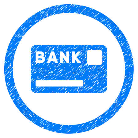 Bank Card grainy textured icon inside circle for overlay watermark stamps. Illustration