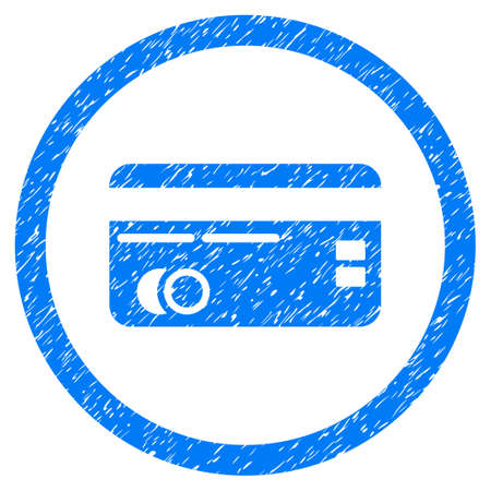 Credit Card grainy textured icon inside circle for overlay watermark stamps. Flat symbol with scratched texture. Illustration