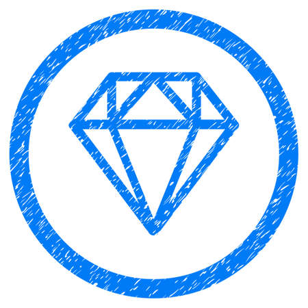 Diamond grainy textured icon inside circle for overlay watermark stamps. Flat symbol with dust texture. Circled dotted vector blue ink rubber seal stamp with grunge design on a white background.