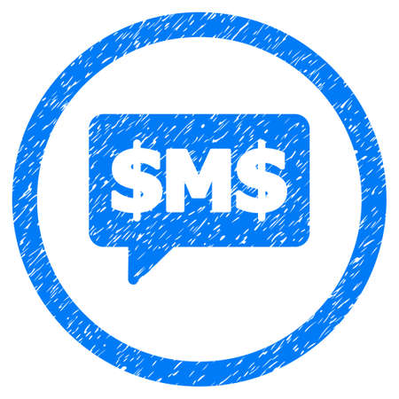 SMS Bubble grainy textured icon inside circle for overlay watermark stamps.