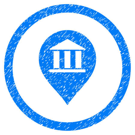Bank Building Pointer grainy textured icon inside circle for overlay watermark stamps. Flat symbol with scratched texture.
