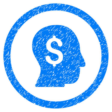 Businessman grainy textured icon inside circle for overlay watermark stamps. Flat symbol with unclean texture.