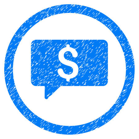 Money Message grainy textured icon inside circle for overlay watermark stamps. Flat symbol with dirty texture.