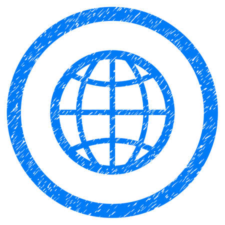 Globe grainy textured icon inside circle for overlay watermark stamps. Flat symbol with dirty texture. Circled dotted raster blue ink rubber seal stamp with grunge design on a white background.
