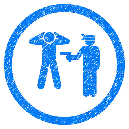 prison guard: Arrest grainy textured icon inside circle for overlay watermark stamps. Flat symbol with dirty texture. Circled dotted vector blue ink rubber seal stamp with grunge design on a white background.