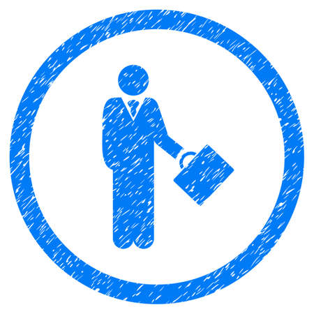 Businessman grainy textured icon inside circle for overlay watermark stamps. Flat symbol with dirty texture. Circled dotted vector blue ink rubber seal stamp with grunge design on a white background.