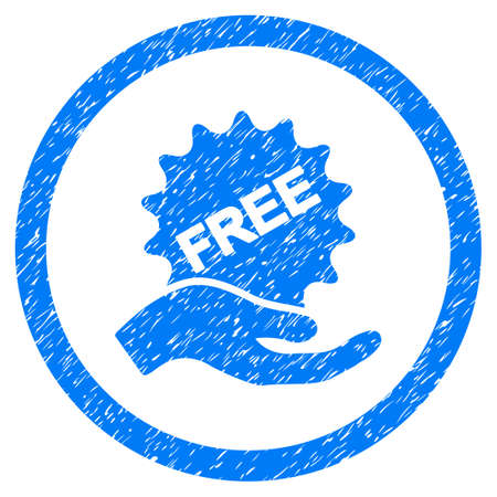 Free Offer grainy textured icon inside circle for overlay watermark stamps. Flat symbol with dust texture. Circled dotted vector blue ink rubber seal stamp with grunge design on a white background. Illustration