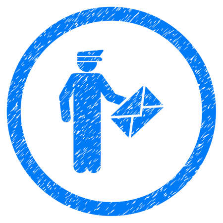 Postman grainy textured icon inside circle for overlay watermark stamps. Flat symbol with unclean texture. Circled dotted vector blue ink rubber seal stamp with grunge design on a white background.