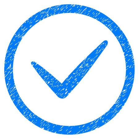 Icône de texture granuleuse valide à l'intérieur du cercle pour les tampons de filigrane de superposition. Symbole plat avec texture sale. Timbre de joint en caoutchouc encre bleue vecteur en pointillé avec motif grunge sur fond blanc.
