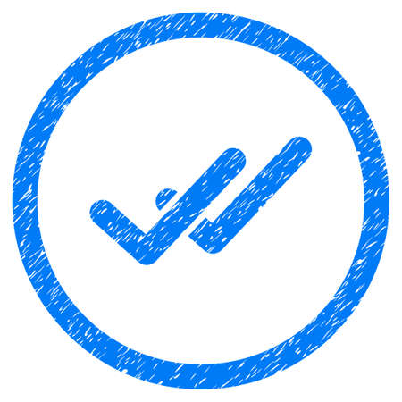 Validation grainy textured icon inside circle for overlay watermark stamps. Flat symbol with scratched texture.