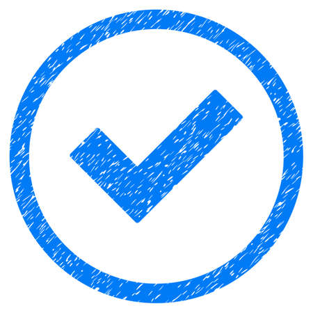 Accept grainy textured icon inside circle for overlay watermark stamps. Flat symbol with scratched texture. Circled dotted raster blue ink rubber seal stamp with grunge design on a white background.