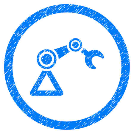 automat: Artificial Manipulator grainy textured icon inside circle for overlay watermark stamps. Flat symbol with dust texture.