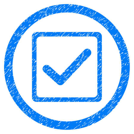 marked boxes: Checkbox grainy textured icon inside circle for overlay watermark stamps. Flat symbol with unclean texture. Circled dotted raster blue ink rubber seal stamp with grunge design on a white background. Stock Photo