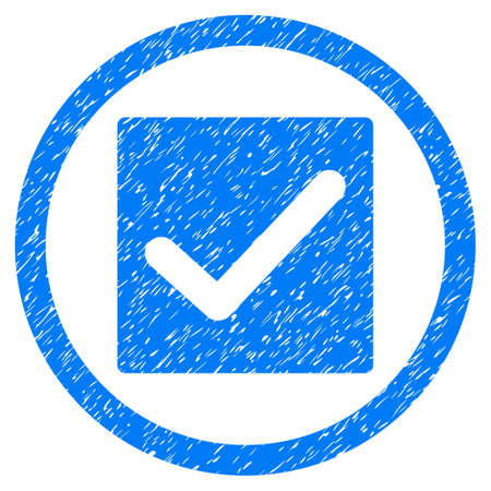 verify: Check grainy textured icon inside circle for overlay watermark stamps. Flat symbol with scratched texture. Circled dotted raster blue ink rubber seal stamp with grunge design on a white background.